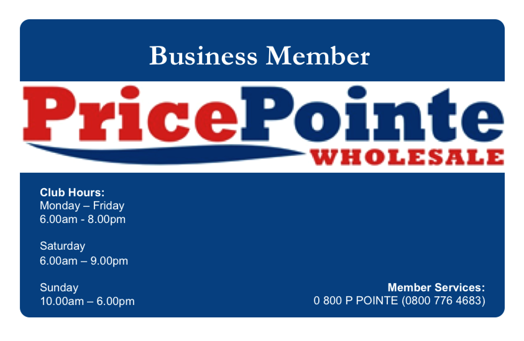 Business Membership PricePointe Club